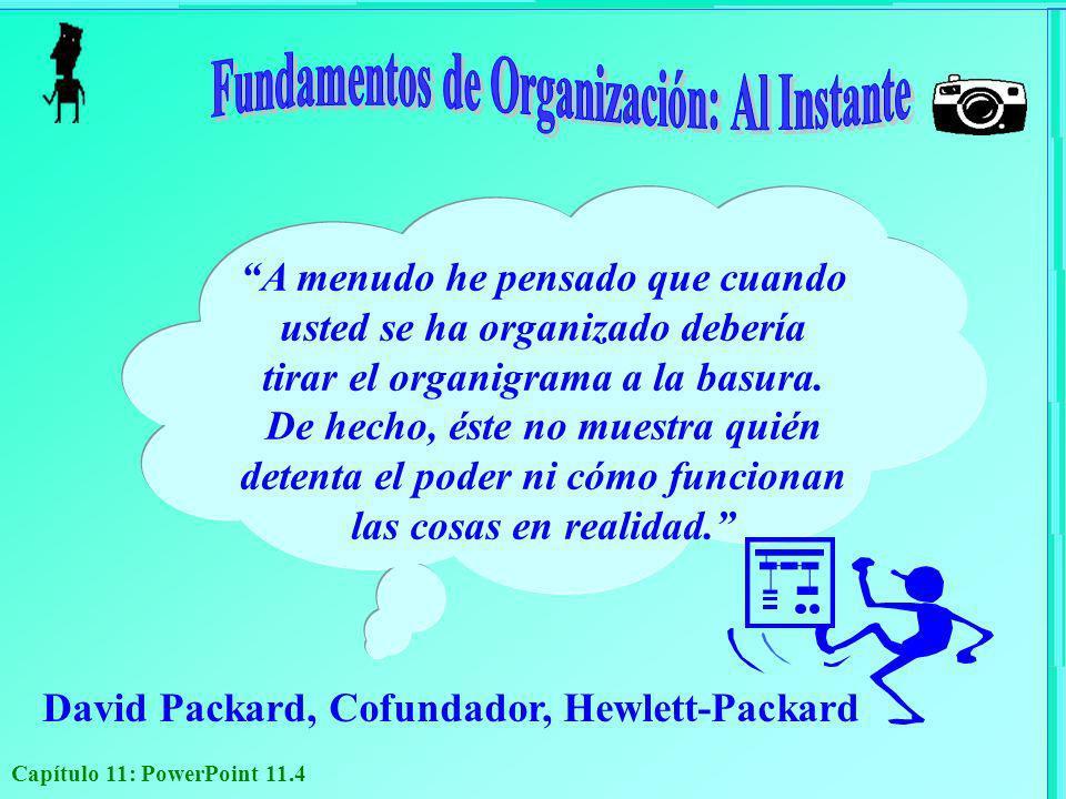 Capítulo 11: PowerPoint 11.4 David Packard, Cofundador, Hewlett-Packard A menudo he pensado que cuando usted se ha organizado debería tirar el organig
