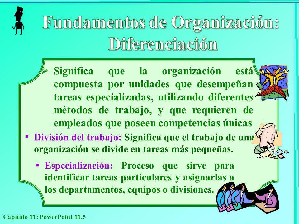 Capítulo 11: PowerPoint 11.5 Significa que la organización está compuesta por unidades que desempeñan tareas especializadas, utilizando diferentes mét
