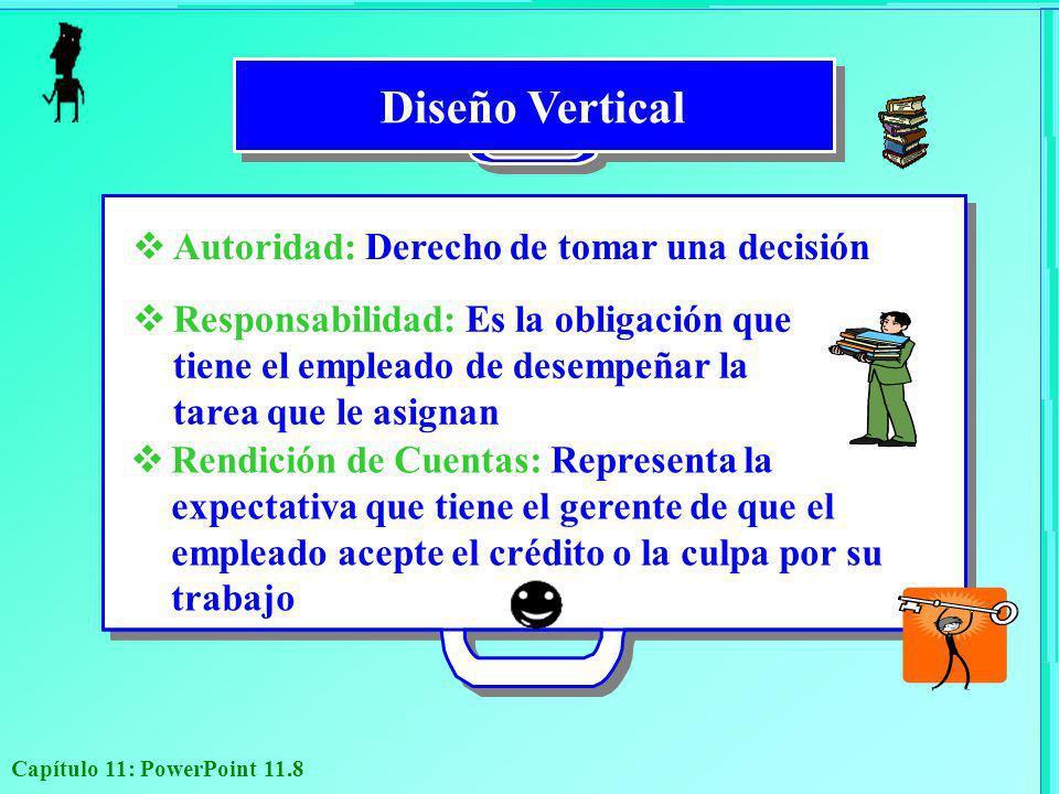 Capítulo 11: PowerPoint 11.8 Autoridad: Derecho de tomar una decisión Responsabilidad: Es la obligación que tiene el empleado de desempeñar la tarea q
