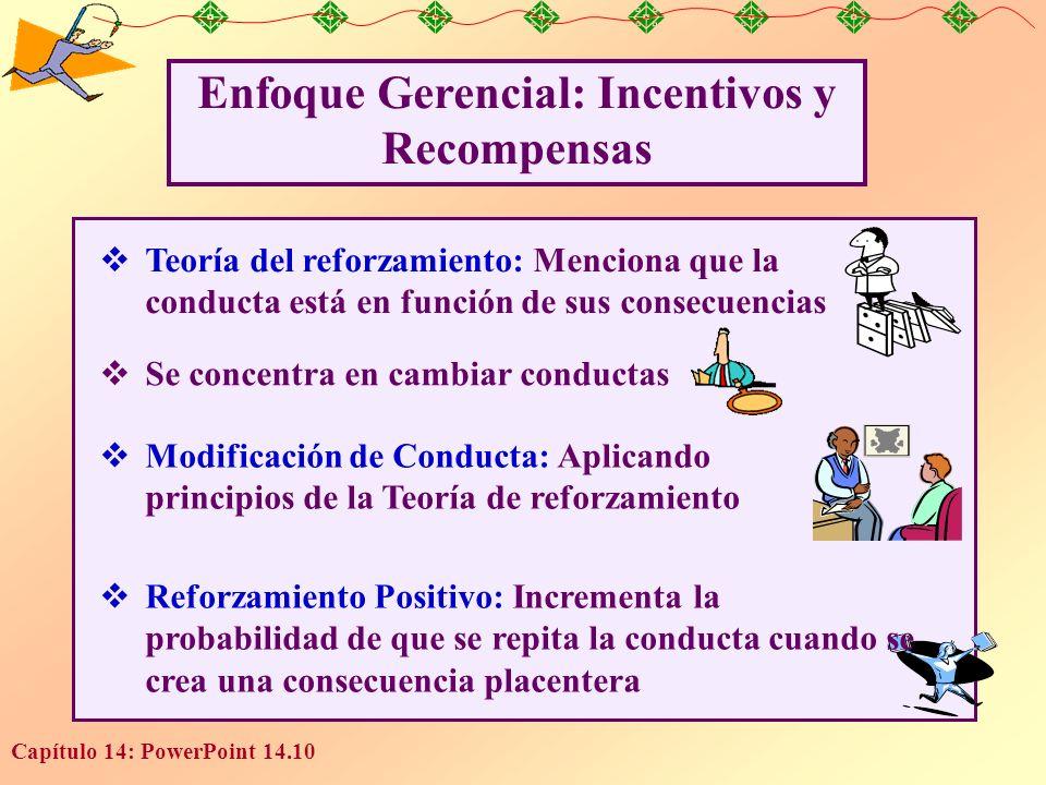 Capítulo 14: PowerPoint 14.10 Enfoque Gerencial: Incentivos y Recompensas Teoría del reforzamiento: Menciona que la conducta está en función de sus co