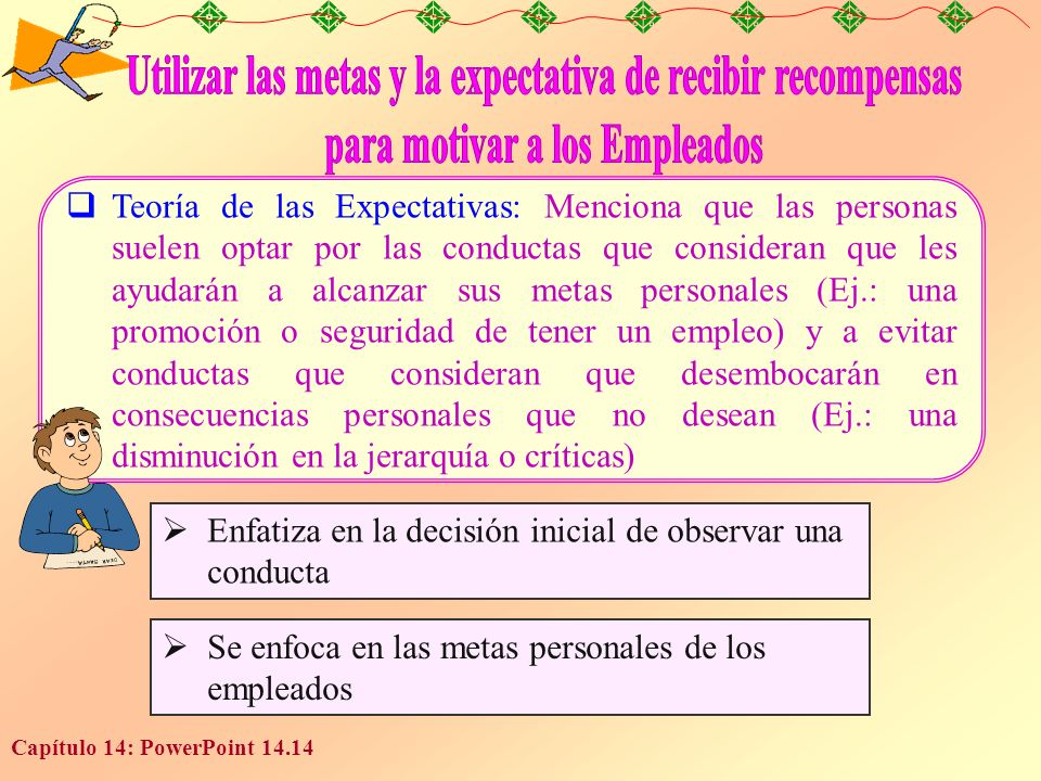 Capítulo 14: PowerPoint 14.14 Teoría de las Expectativas: Menciona que las personas suelen optar por las conductas que consideran que les ayudarán a a