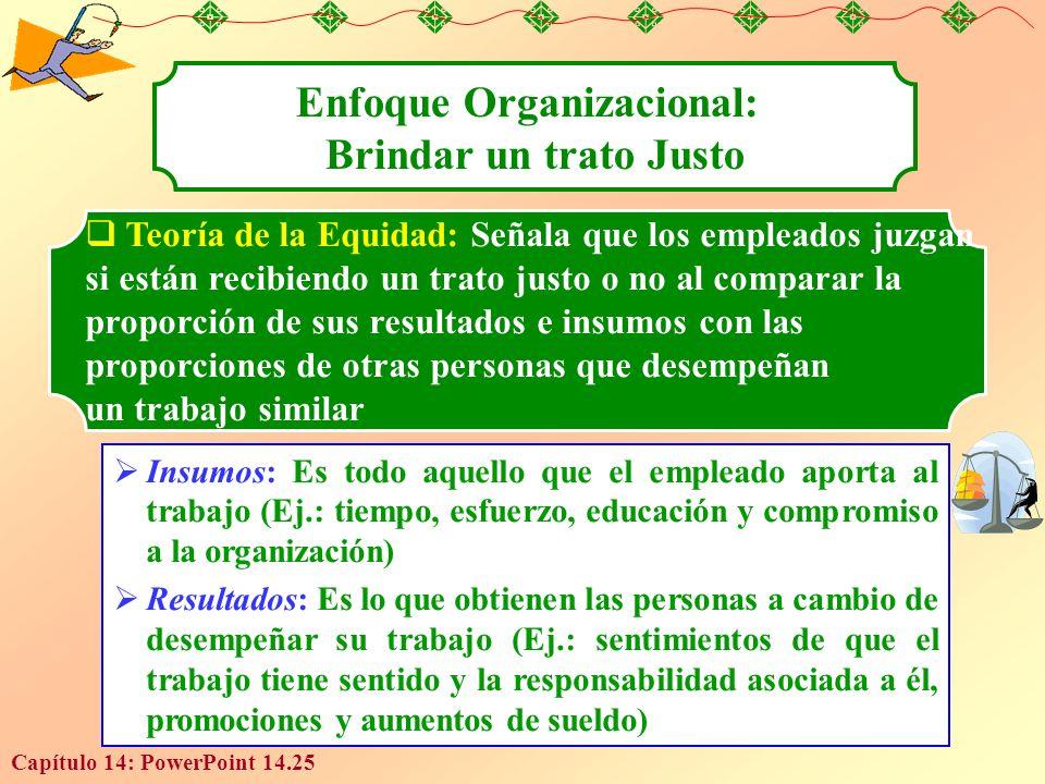 Capítulo 14: PowerPoint 14.25 Enfoque Organizacional: Brindar un trato Justo Teoría de la Equidad: Señala que los empleados juzgan si están recibiendo