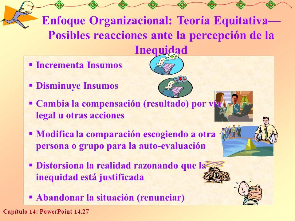 Capítulo 14: PowerPoint 14.27 Enfoque Organizacional: Teoría Equitativa Posibles reacciones ante la percepción de la Inequidad Incrementa Insumos Dism