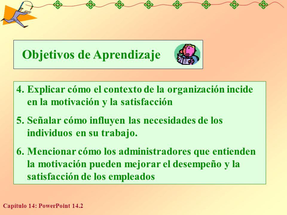 Capítulo 14: PowerPoint 14.2 4.Explicar cómo el contexto de la organización incide en la motivación y la satisfacción 5.Señalar cómo influyen las necesidades de los individuos en su trabajo.
