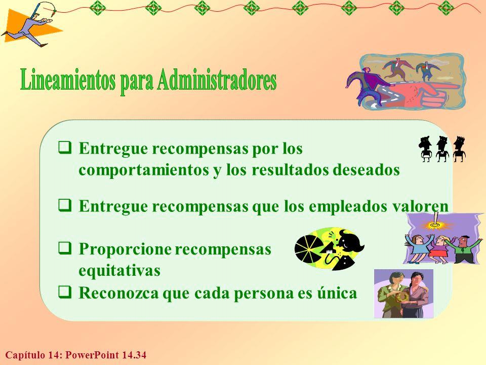 Capítulo 14: PowerPoint 14.34 Entregue recompensas por los comportamientos y los resultados deseados Entregue recompensas que los empleados valoren Pr