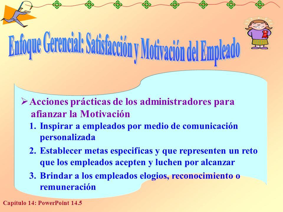 Capítulo 14: PowerPoint 14.5 Acciones prácticas de los administradores para afianzar la Motivación 1.Inspirar a empleados por medio de comunicación pe