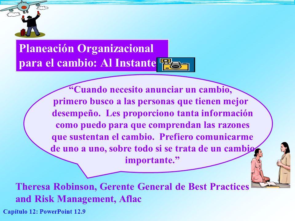 Capítulo 12: PowerPoint 12.9 Planeación Organizacional para el cambio: Al Instante Cuando necesito anunciar un cambio, primero busco a las personas qu