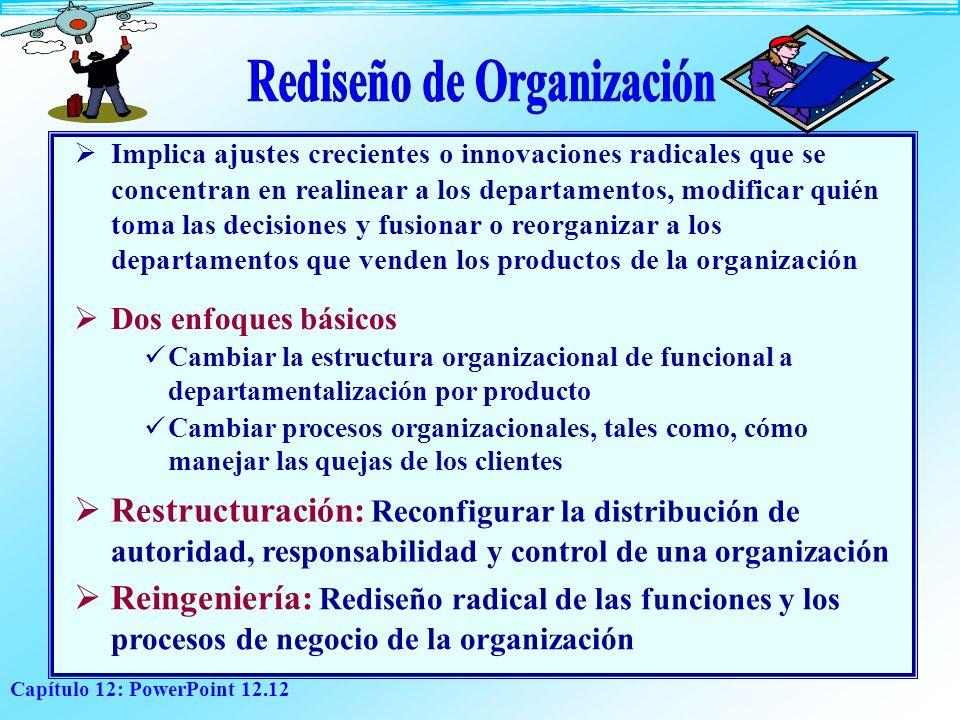 Capítulo 12: PowerPoint 12.12 Implica ajustes crecientes o innovaciones radicales que se concentran en realinear a los departamentos, modificar quién