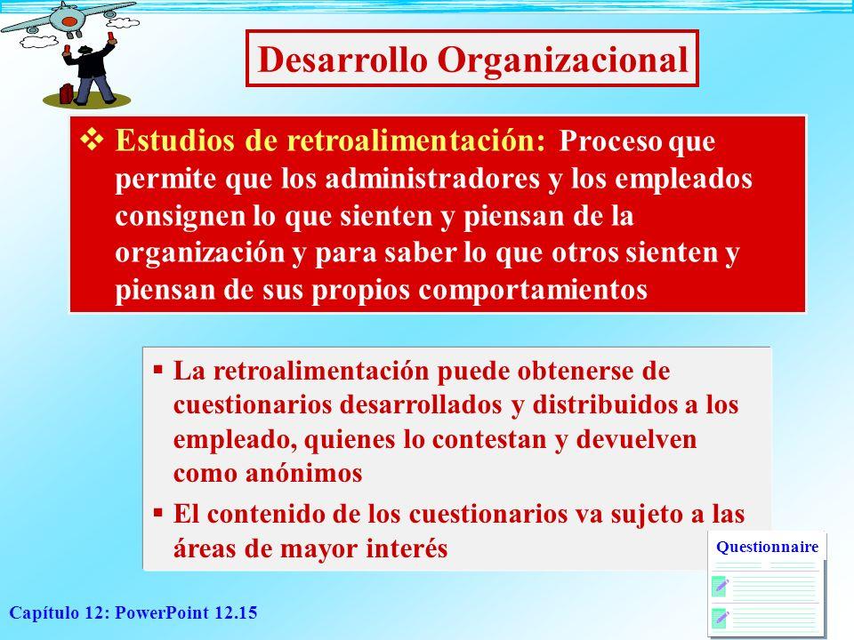 Capítulo 12: PowerPoint 12.15 Desarrollo Organizacional Estudios de retroalimentación: Proceso que permite que los administradores y los empleados con