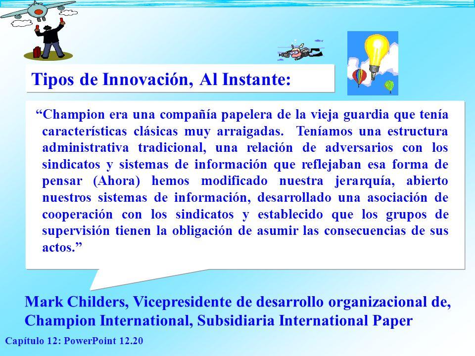 Capítulo 12: PowerPoint 12.20 Tipos de Innovación, Al Instante: Champion era una compañía papelera de la vieja guardia que tenía características clási
