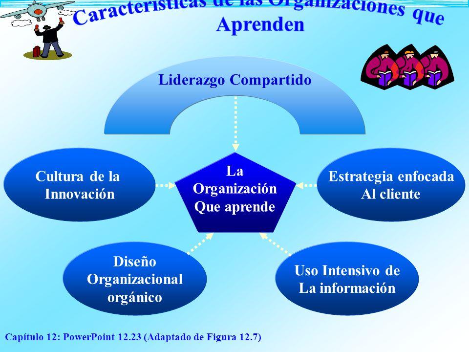 Capítulo 12: PowerPoint 12.23 (Adaptado de Figura 12.7) Diseño Organizacional orgánico Liderazgo Compartido Estrategia enfocada Al cliente Cultura de