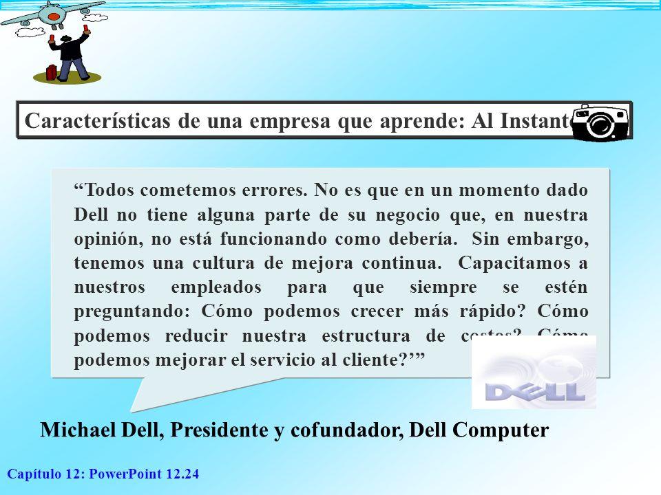 Capítulo 12: PowerPoint 12.24 Características de una empresa que aprende: Al Instante: Todos cometemos errores. No es que en un momento dado Dell no t