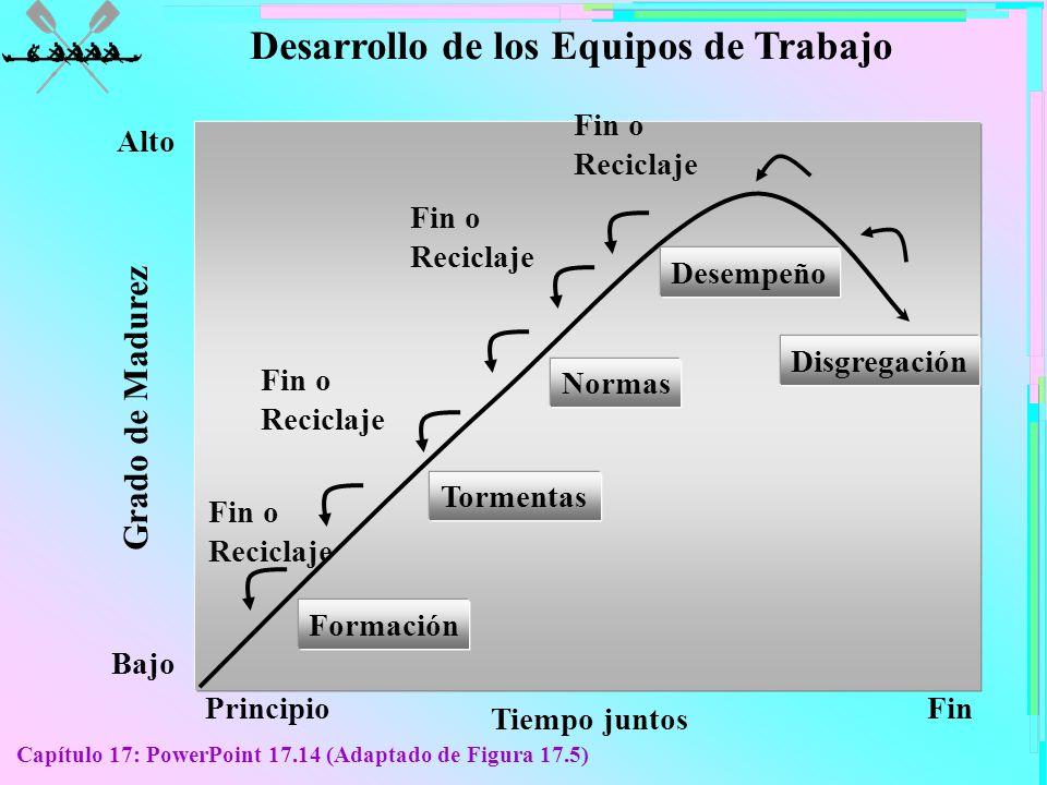 Capítulo 17: PowerPoint 17.14 (Adaptado de Figura 17.5) PrincipioFin Tiempo juntos Bajo Alto Grado de Madurez Fin o Reciclaje Formación Tormentas Norm
