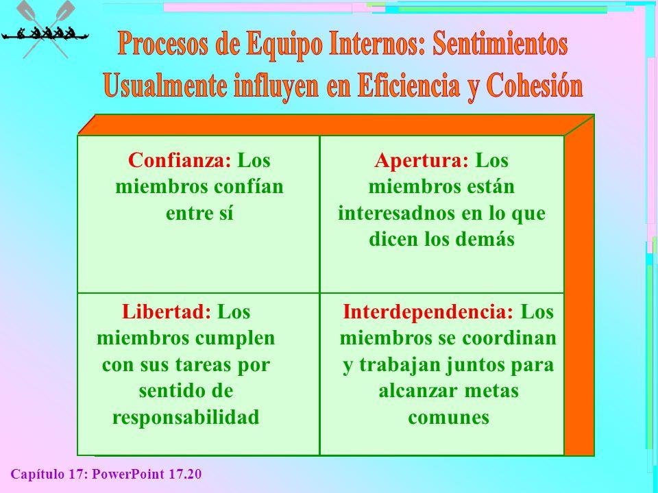 Capítulo 17: PowerPoint 17.20 Confianza: Los miembros confían entre sí Apertura: Los miembros están interesadnos en lo que dicen los demás Libertad: L