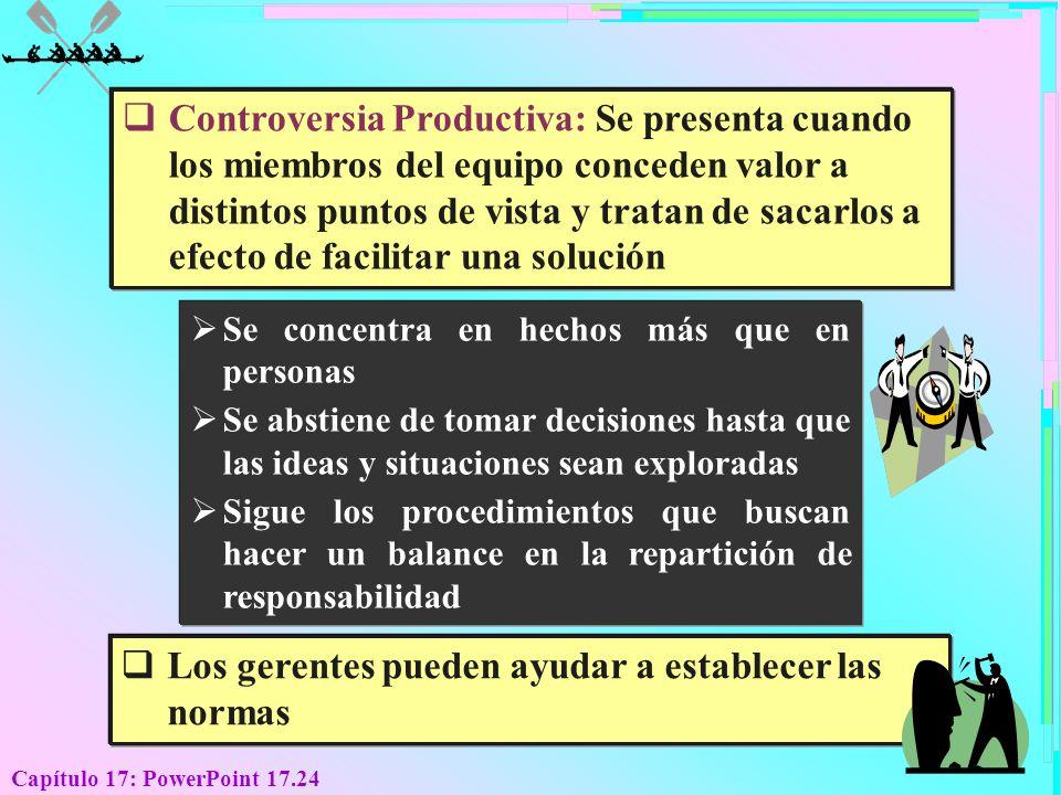 Capítulo 17: PowerPoint 17.24 Controversia Productiva: Se presenta cuando los miembros del equipo conceden valor a distintos puntos de vista y tratan