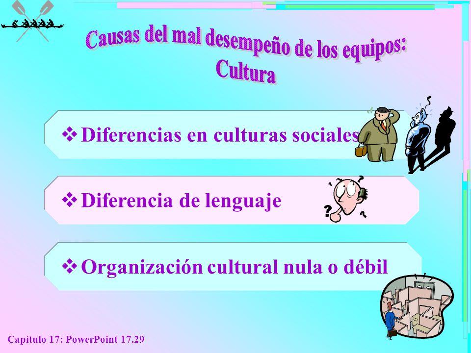 Capítulo 17: PowerPoint 17.29 Diferencias en culturas sociales Diferencia de lenguaje Organización cultural nula o débil