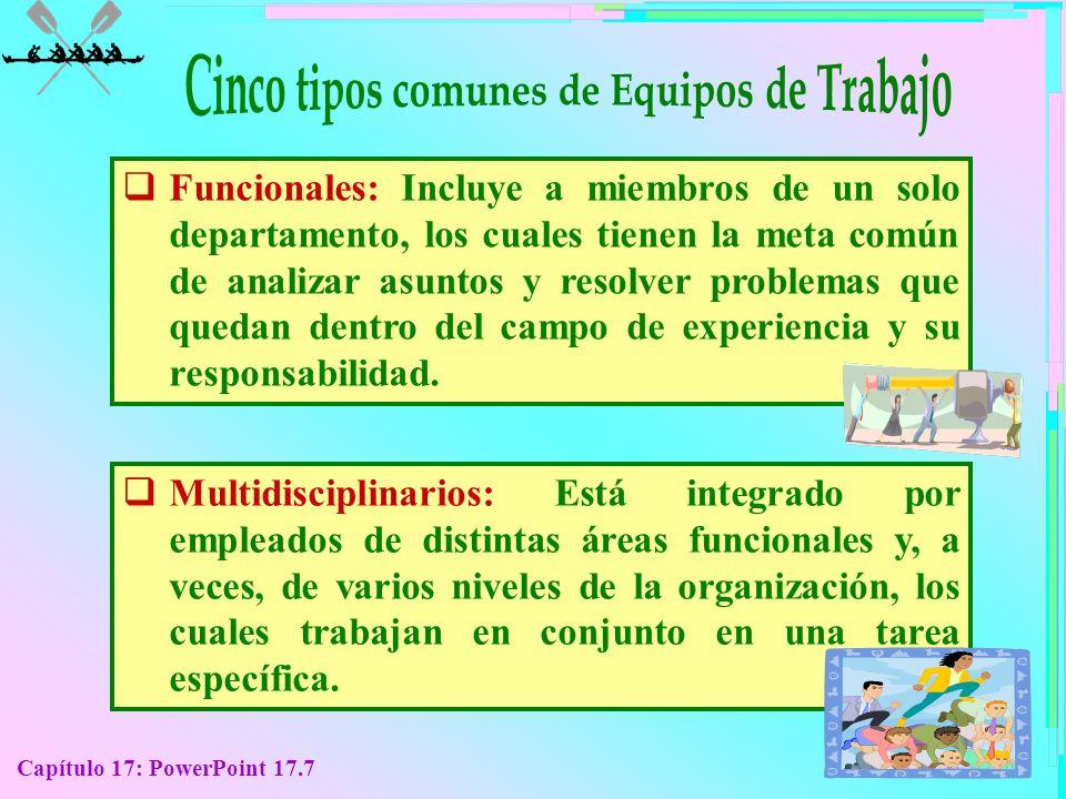 Capítulo 17: PowerPoint 17.7 F uncionales: Incluye a miembros de un solo departamento, los cuales tienen la meta común de analizar asuntos y resolver