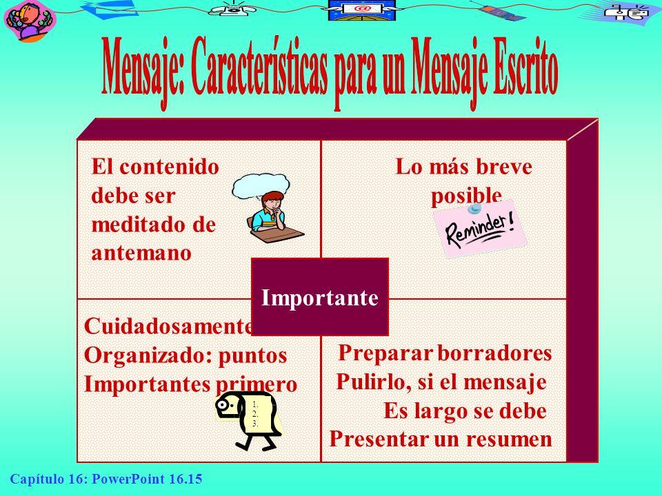 Capítulo 16: PowerPoint 16.15 El contenido debe ser meditado de antemano Lo más breve posible Cuidadosamente Organizado: puntos Importantes primero 1.