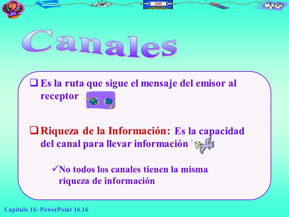 Capítulo 16: PowerPoint 16.16 Es la ruta que sigue el mensaje del emisor al receptor Riqueza de la Información: Es la capacidad del canal para llevar