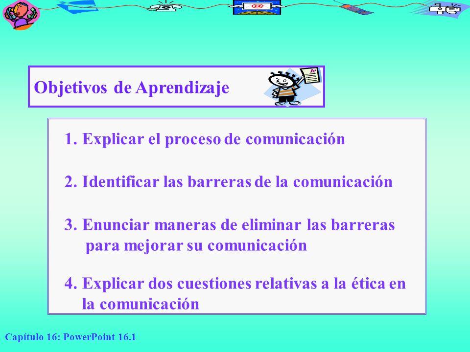 Capítulo 16: PowerPoint 16.1 Objetivos de Aprendizaje 1.Explicar el proceso de comunicación 2.Identificar las barreras de la comunicación 3.Enunciar m