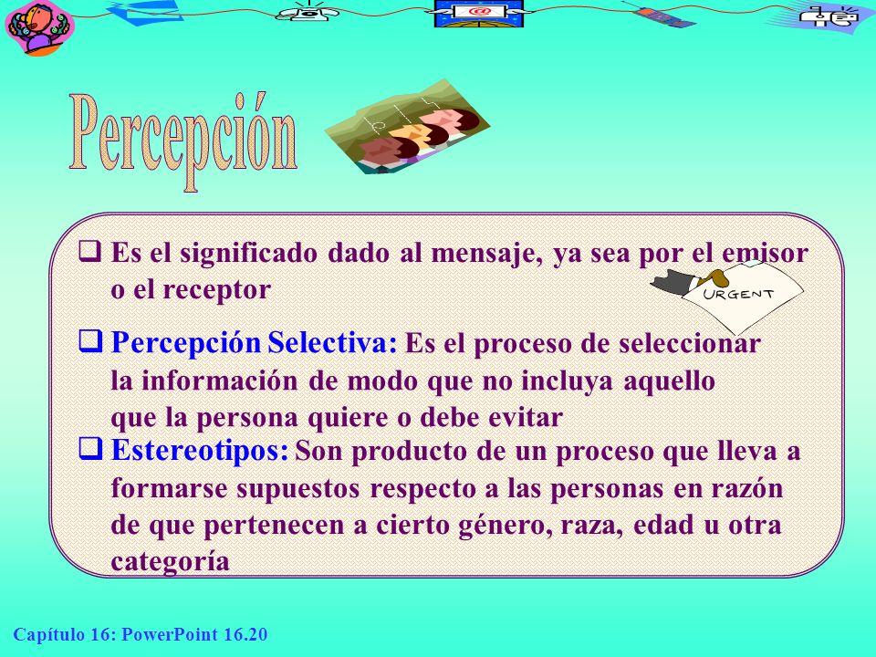 Capítulo 16: PowerPoint 16.20 E s el significado dado al mensaje, ya sea por el emisor o el receptor Percepción Selectiva: Es el proceso de selecciona