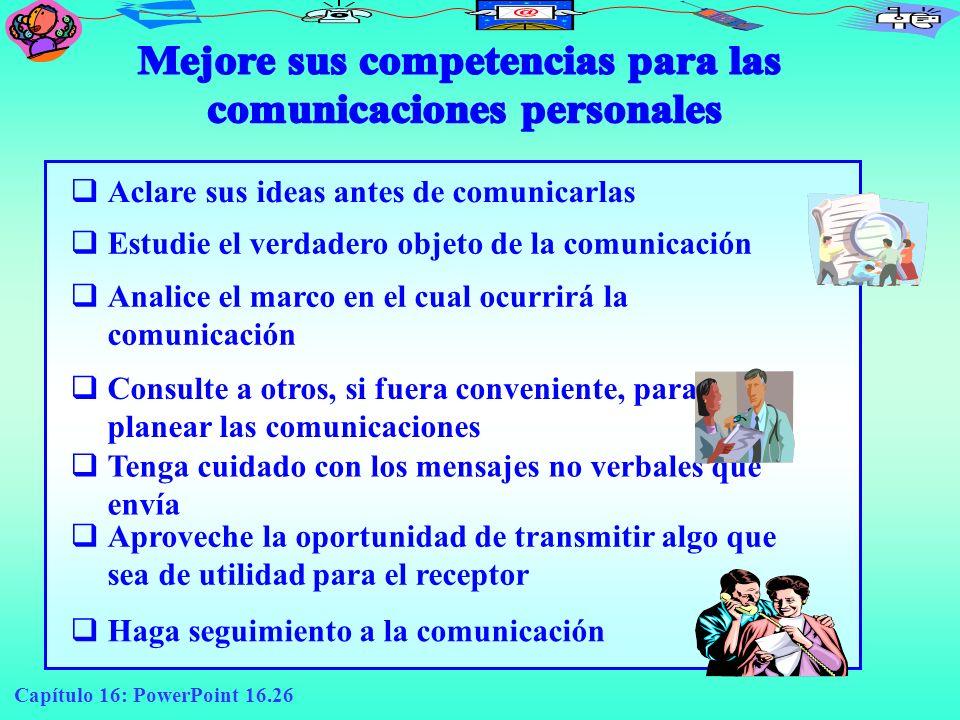 Capítulo 16: PowerPoint 16.26 Aclare sus ideas antes de comunicarlas Estudie el verdadero objeto de la comunicación Analice el marco en el cual ocurri
