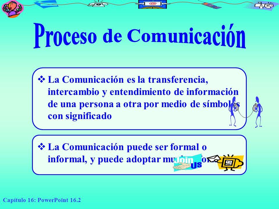 Capítulo 16: PowerPoint 16.2 La Comunicación es la transferencia, intercambio y entendimiento de información de una persona a otra por medio de símbol