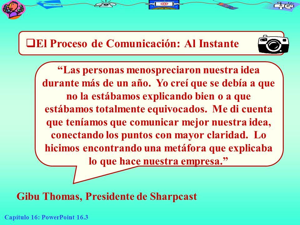 Capítulo 16: PowerPoint 16.3 El Proceso de Comunicación: Al Instante Gibu Thomas, Presidente de Sharpcast Las personas menospreciaron nuestra idea dur