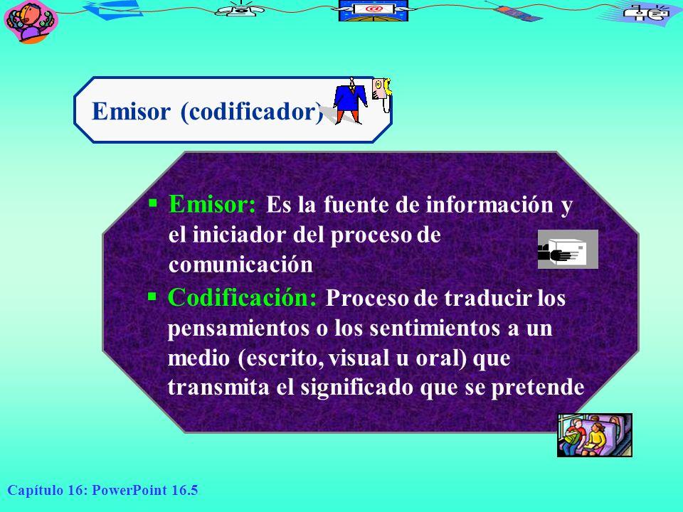 Capítulo 16: PowerPoint 16.5 Emisor (codificador) Emisor: Es la fuente de información y el iniciador del proceso de comunicación Codificación: Proceso