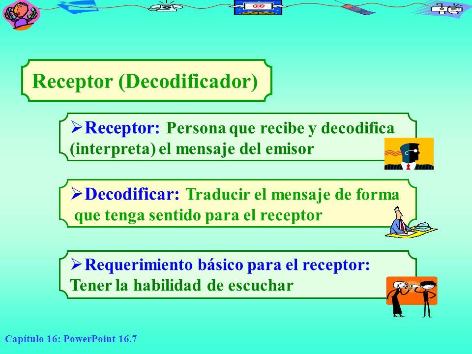 Capítulo 16: PowerPoint 16.7 Receptor: Persona que recibe y decodifica (interpreta) el mensaje del emisor Receptor (Decodificador) Decodificar: Traduc