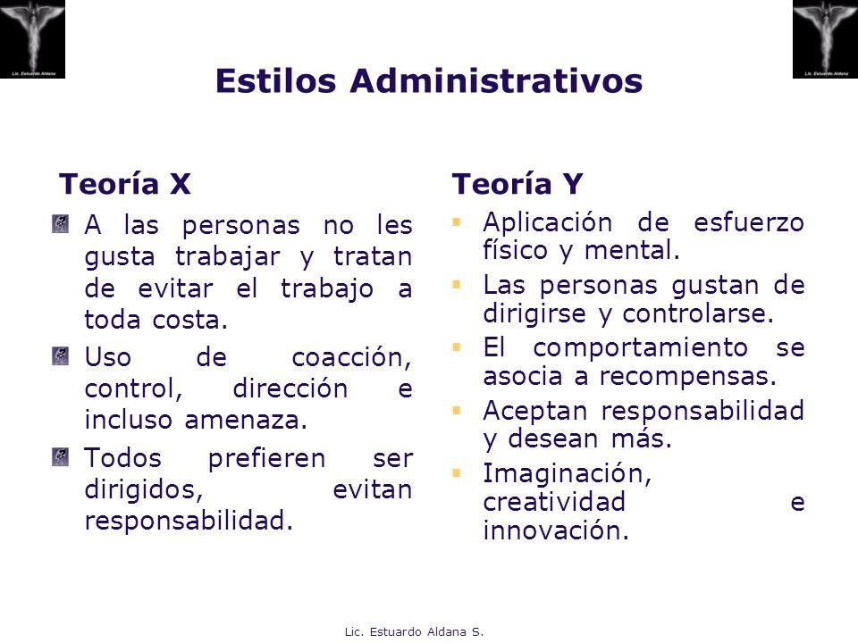 Estilos Administrativos Teoría X A las personas no les gusta trabajar y tratan de evitar el trabajo a toda costa. Uso de coacción, control, dirección