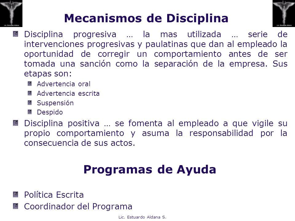 Mecanismos de Disciplina Disciplina progresiva … la mas utilizada … serie de intervenciones progresivas y paulatinas que dan al empleado la oportunida