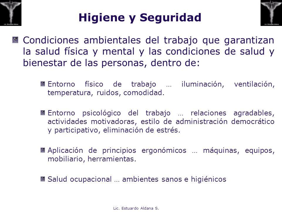 Higiene y Seguridad Condiciones ambientales del trabajo que garantizan la salud física y mental y las condiciones de salud y bienestar de las personas