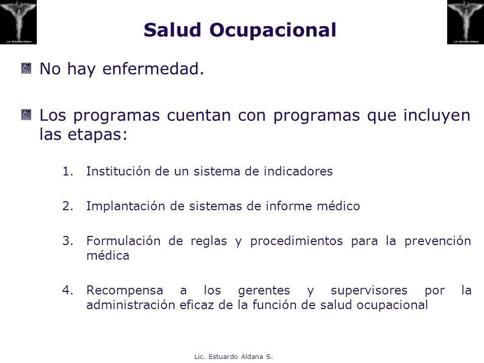 Salud Ocupacional No hay enfermedad. Los programas cuentan con programas que incluyen las etapas: 1.Institución de un sistema de indicadores 2.Implant