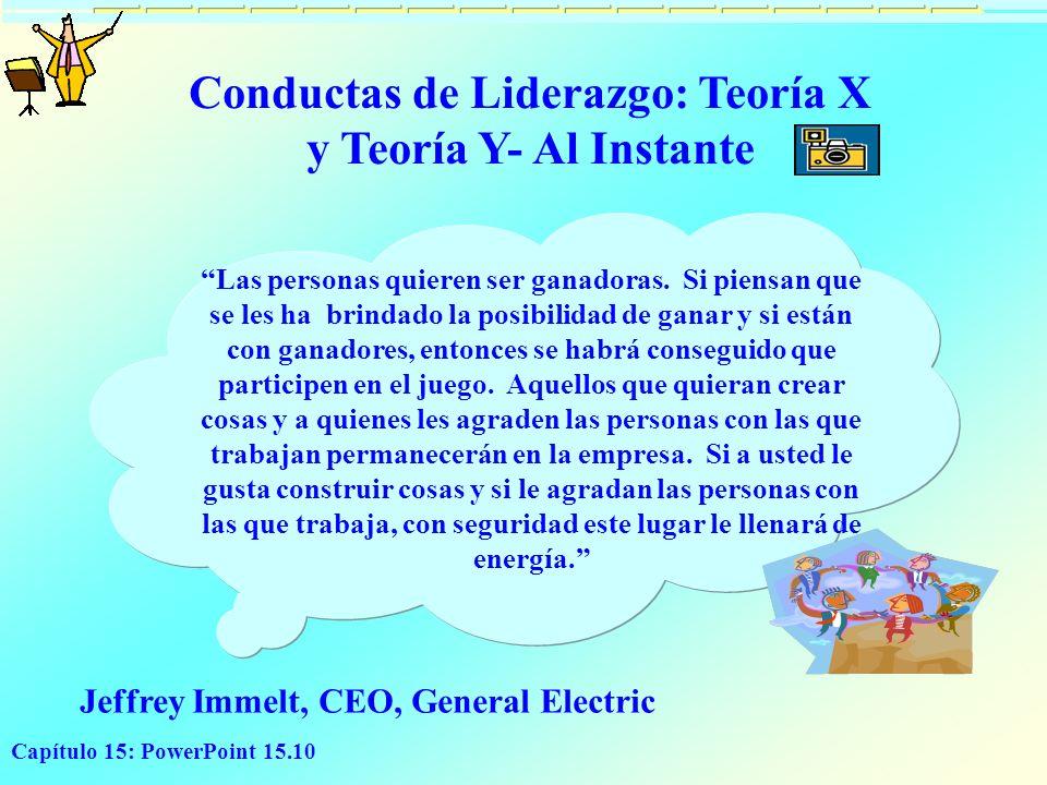 Capítulo 15: PowerPoint 15.10 Conductas de Liderazgo: Teoría X y Teoría Y- Al Instante Las personas quieren ser ganadoras. Si piensan que se les ha br