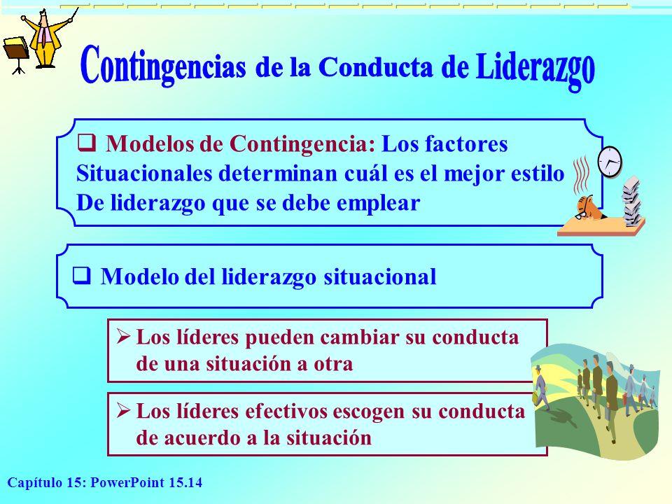 Capítulo 15: PowerPoint 15.14 Modelos de Contingencia: Los factores Situacionales determinan cuál es el mejor estilo De liderazgo que se debe emplear