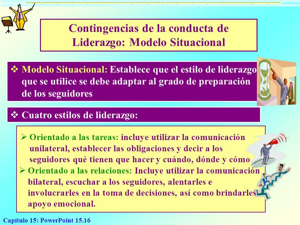 Capítulo 15: PowerPoint 15.16 Contingencias de la conducta de Liderazgo: Modelo Situacional Modelo Situacional: Establece que el estilo de liderazgo q