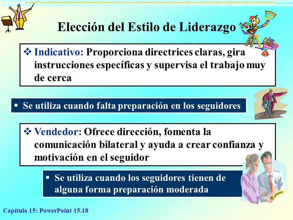 Capítulo 15: PowerPoint 15.18 Elección del Estilo de Liderazgo Indicativo: Proporciona directrices claras, gira instrucciones específicas y supervisa