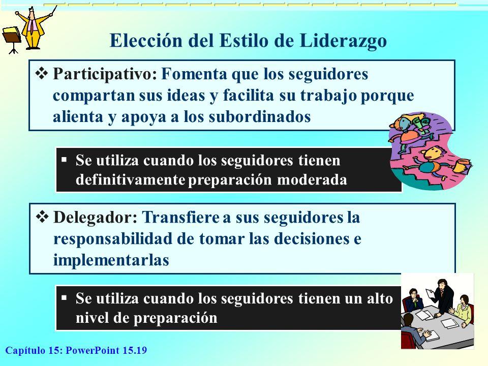 Capítulo 15: PowerPoint 15.19 Elección del Estilo de Liderazgo Participativo: Fomenta que los seguidores compartan sus ideas y facilita su trabajo por