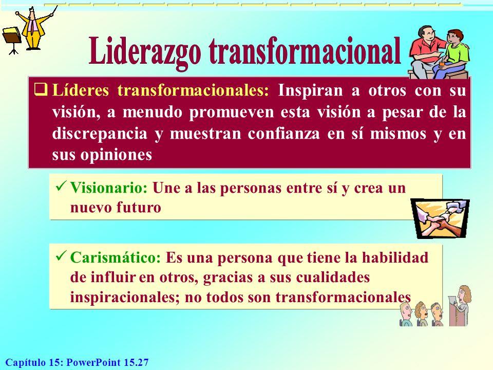 Capítulo 15: PowerPoint 15.27 Líderes transformacionales: Inspiran a otros con su visión, a menudo promueven esta visión a pesar de la discrepancia y