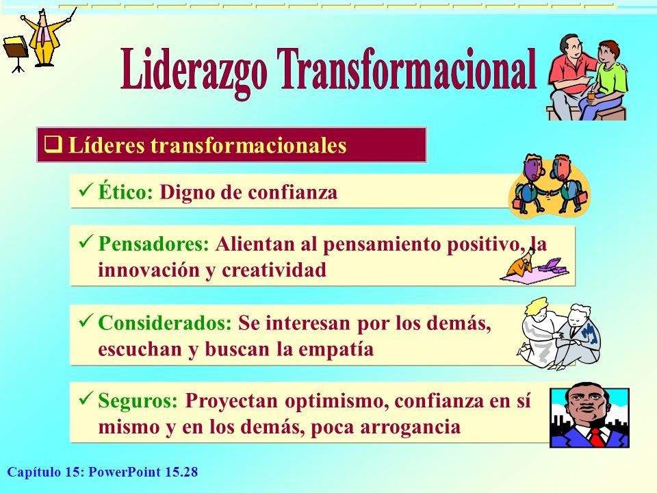 Capítulo 15: PowerPoint 15.28 Seguros: Proyectan optimismo, confianza en sí mismo y en los demás, poca arrogancia Considerados: Se interesan por los d