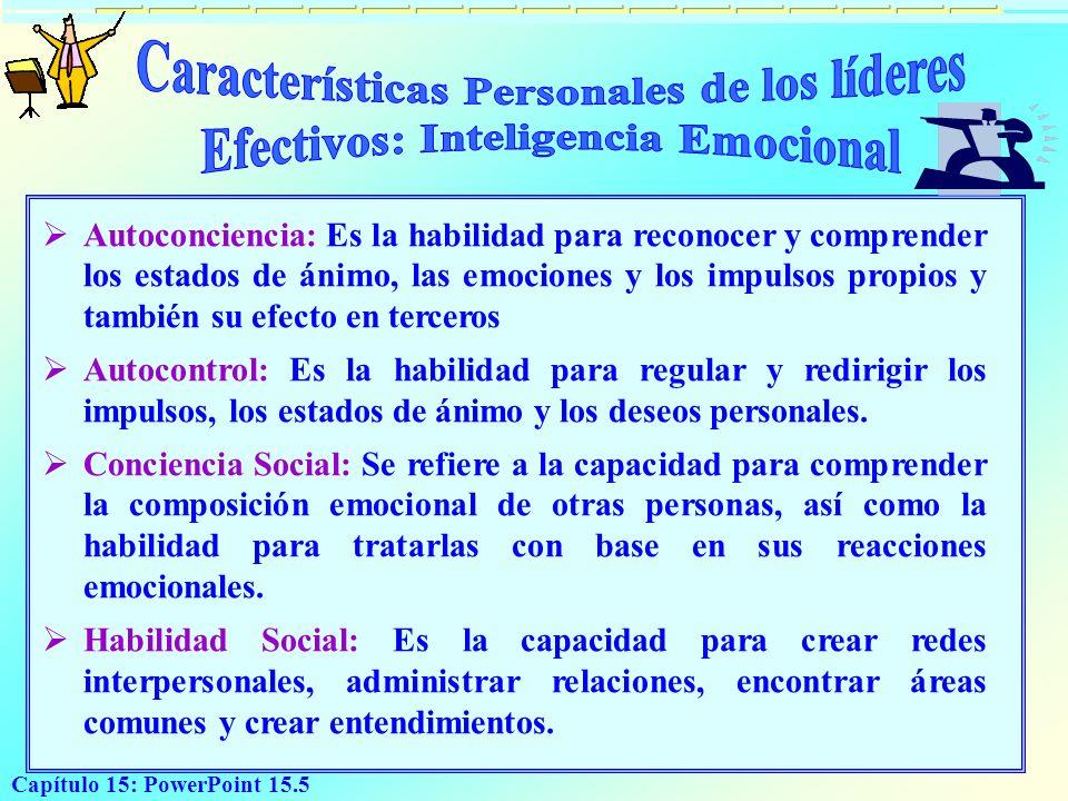 Capítulo 15: PowerPoint 15.5 A utoconciencia: Es la habilidad para reconocer y comprender los estados de ánimo, las emociones y los impulsos propios y
