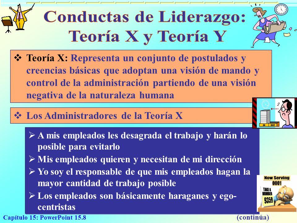 Capítulo 15: PowerPoint 15.8 Teoría X: Representa un conjunto de postulados y creencias básicas que adoptan una visión de mando y control de la admini