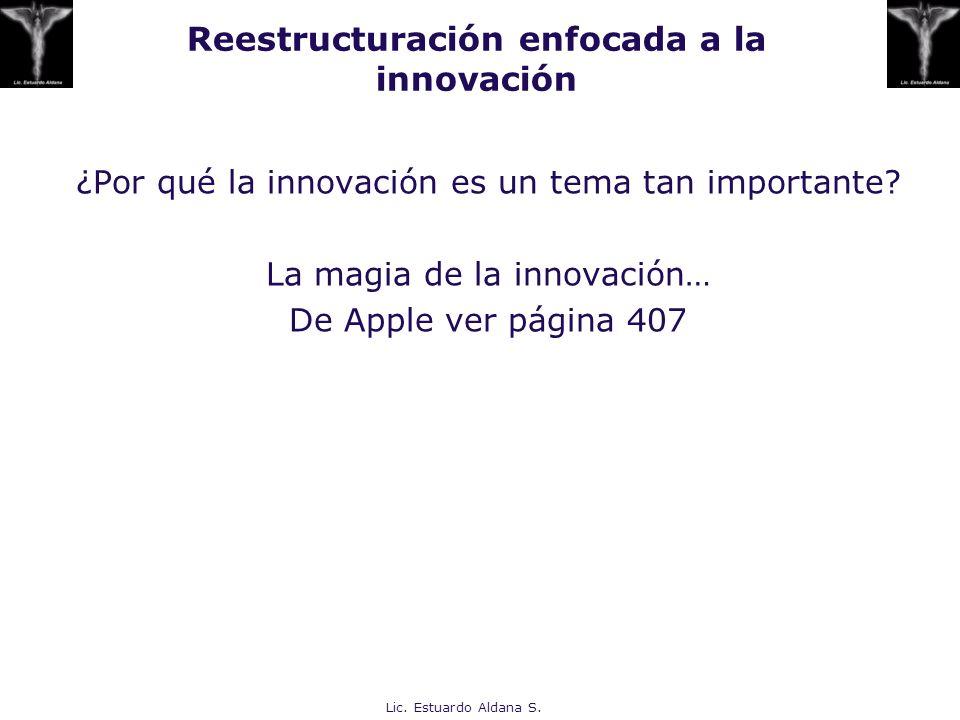 Reestructuración enfocada a la innovación ¿Por qué la innovación es un tema tan importante? La magia de la innovación… De Apple ver página 407 Lic. Es