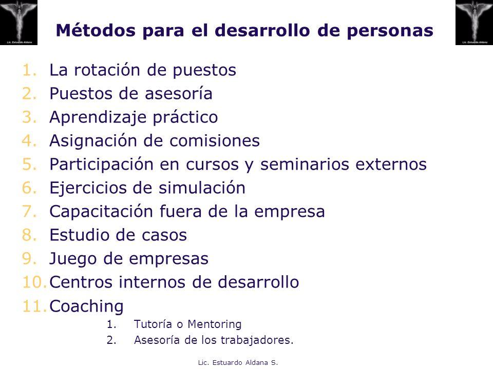 Métodos para el desarrollo de personas 1.La rotación de puestos 2.Puestos de asesoría 3.Aprendizaje práctico 4.Asignación de comisiones 5.Participació