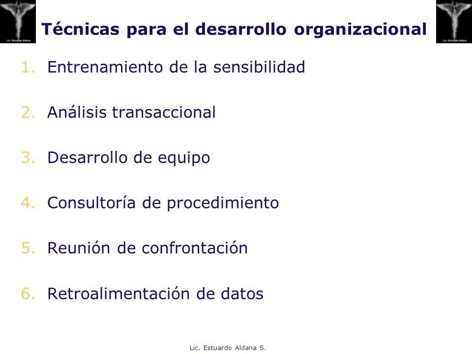 Técnicas para el desarrollo organizacional 1.Entrenamiento de la sensibilidad 2.Análisis transaccional 3.Desarrollo de equipo 4.Consultoría de procedi
