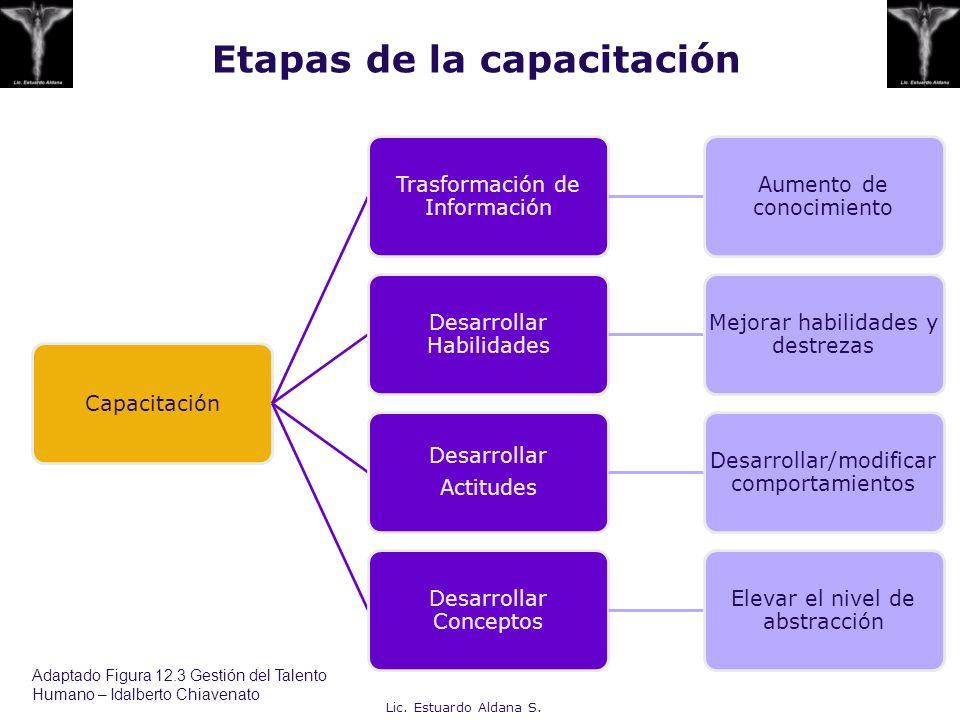 Etapas de la capacitación Capacitación Trasformación de Información Aumento de conocimiento Desarrollar Habilidades Mejorar habilidades y destrezas De