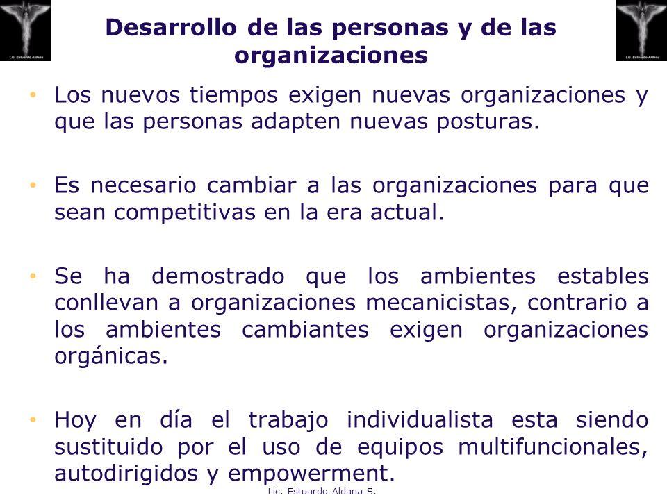 Desarrollo de las personas y de las organizaciones Los nuevos tiempos exigen nuevas organizaciones y que las personas adapten nuevas posturas. Es nece