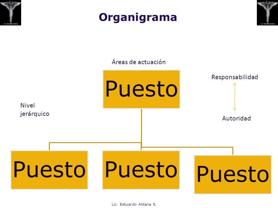Organigrama Puesto Áreas de actuación Nivel jerárquico Responsabilidad Autoridad Lic. Estuardo Aldana S.