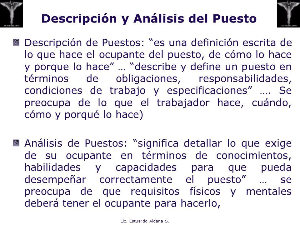 Descripción y Análisis del Puesto Descripción de Puestos: es una definición escrita de lo que hace el ocupante del puesto, de cómo lo hace y porque lo